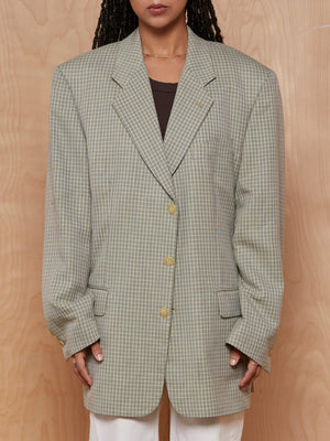 Vintage Tan and Grey Check Blazer