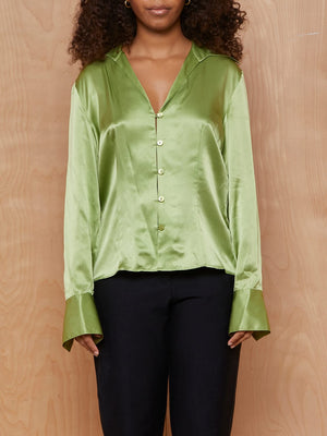 Vintage Silky Lime Button Up