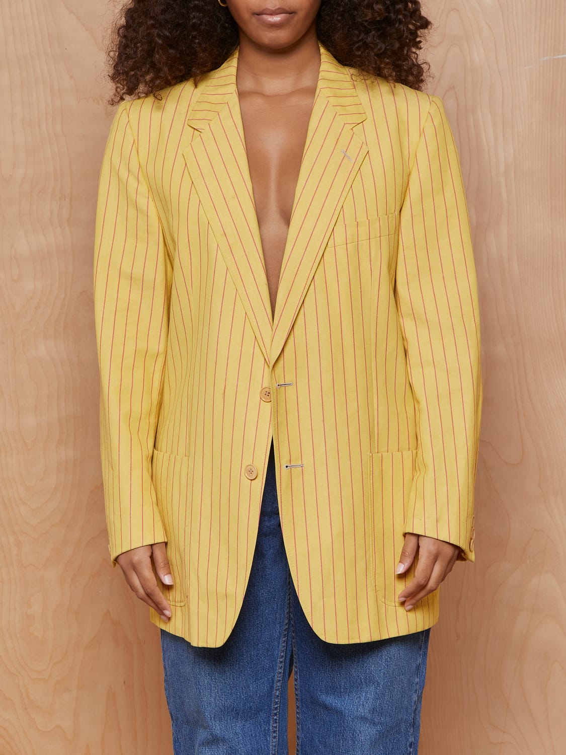 Vintage Yellow and Red Pinstripe Blazer