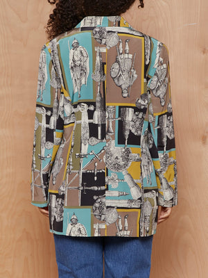 Vintage Grey, Teal and Chartruese Blazer with Classical Imagery