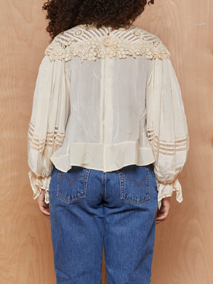 Vintage Cream Silk + Embrodiered Victorian Style Blouse with Peasant Sleeves
