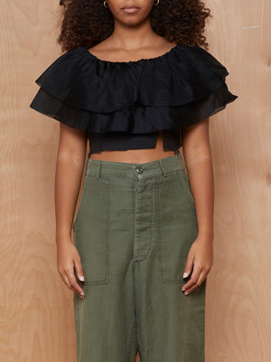 Vintage Black Silk Crepe Ruffle Crop Top