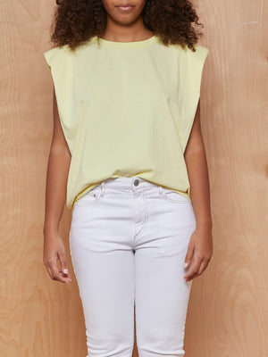 Eva Padded Shoulder Muscle T-Shirt in Pale Yellow by FRANKIESHOP X CAMILLECHARRIÈRE