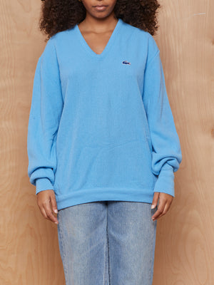 Vintage Sky Blue Lacoste V Neck Sweater