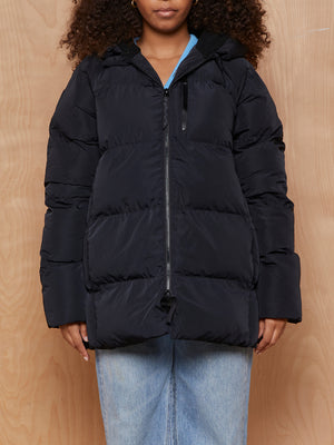 Fabletics Black Puffer Jacket with Teddy Lined Hood