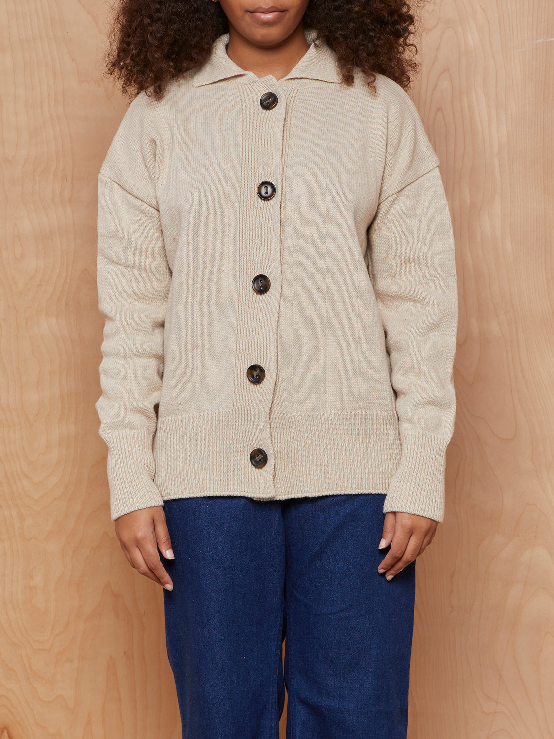 3.3 Field Trip Beige Button Up Sweater