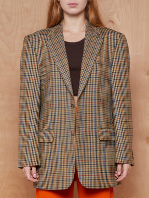 Vintage Tan, Red and Blue Check Wool Blazer