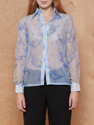 Vintage Blue Sheer Bird and Cloud Button Up