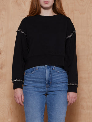 All Saints Black Sweatshirt with Grommet Detail
