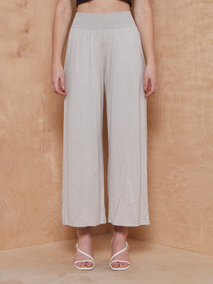 Theory Ribbed Waist Pant in Grey Silk Jersey