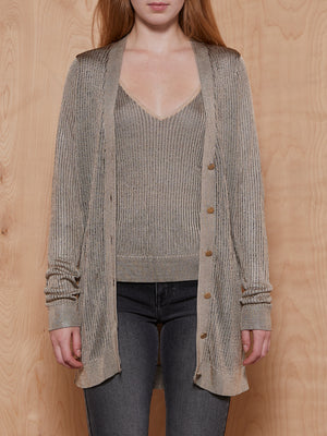 L'agence Brown Knit Top + Cardigan Set