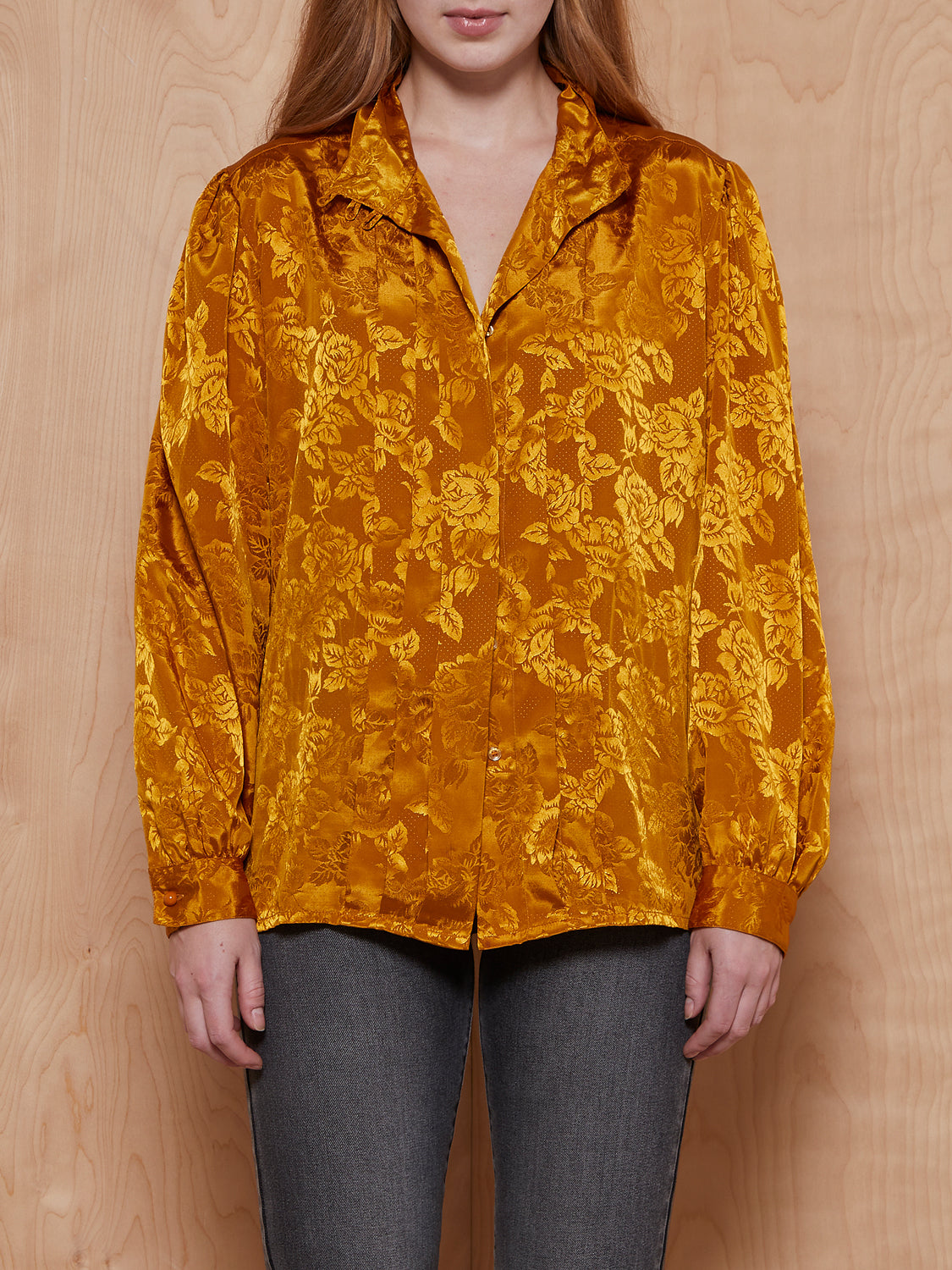 Vintage Gold Print Button Up Blouse