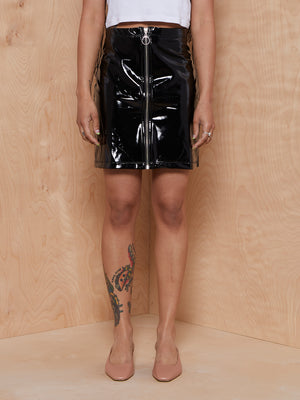 LNA Latex Look Zip Mini Skirt