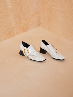 Stella McCartney White Croc Loafers with Gold Buckle