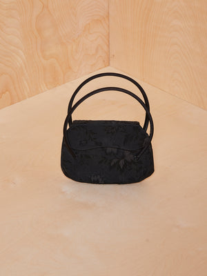 Vintage Black Mini Purse with Embroidered Pattern