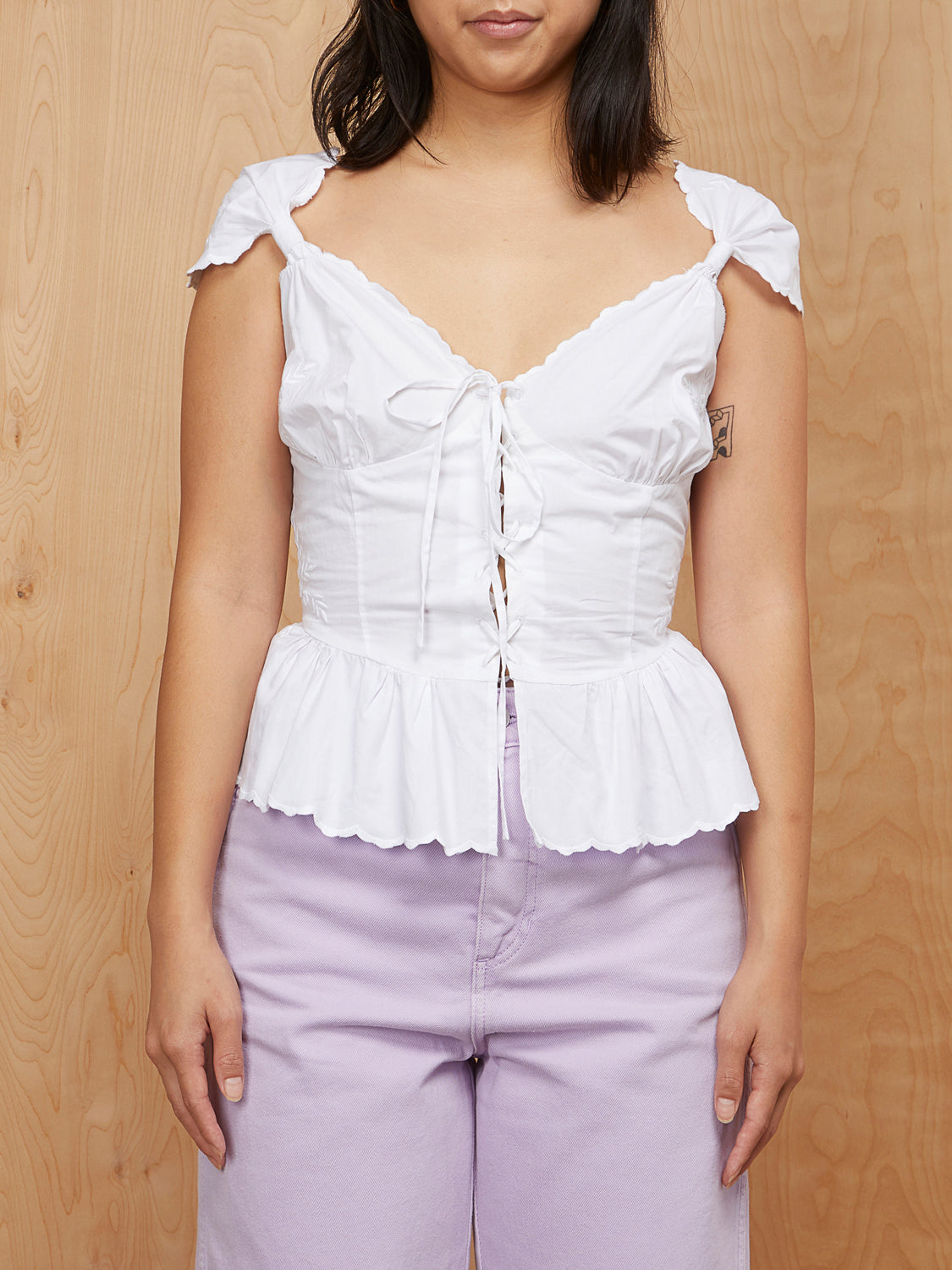 LPA White Lace Up Top