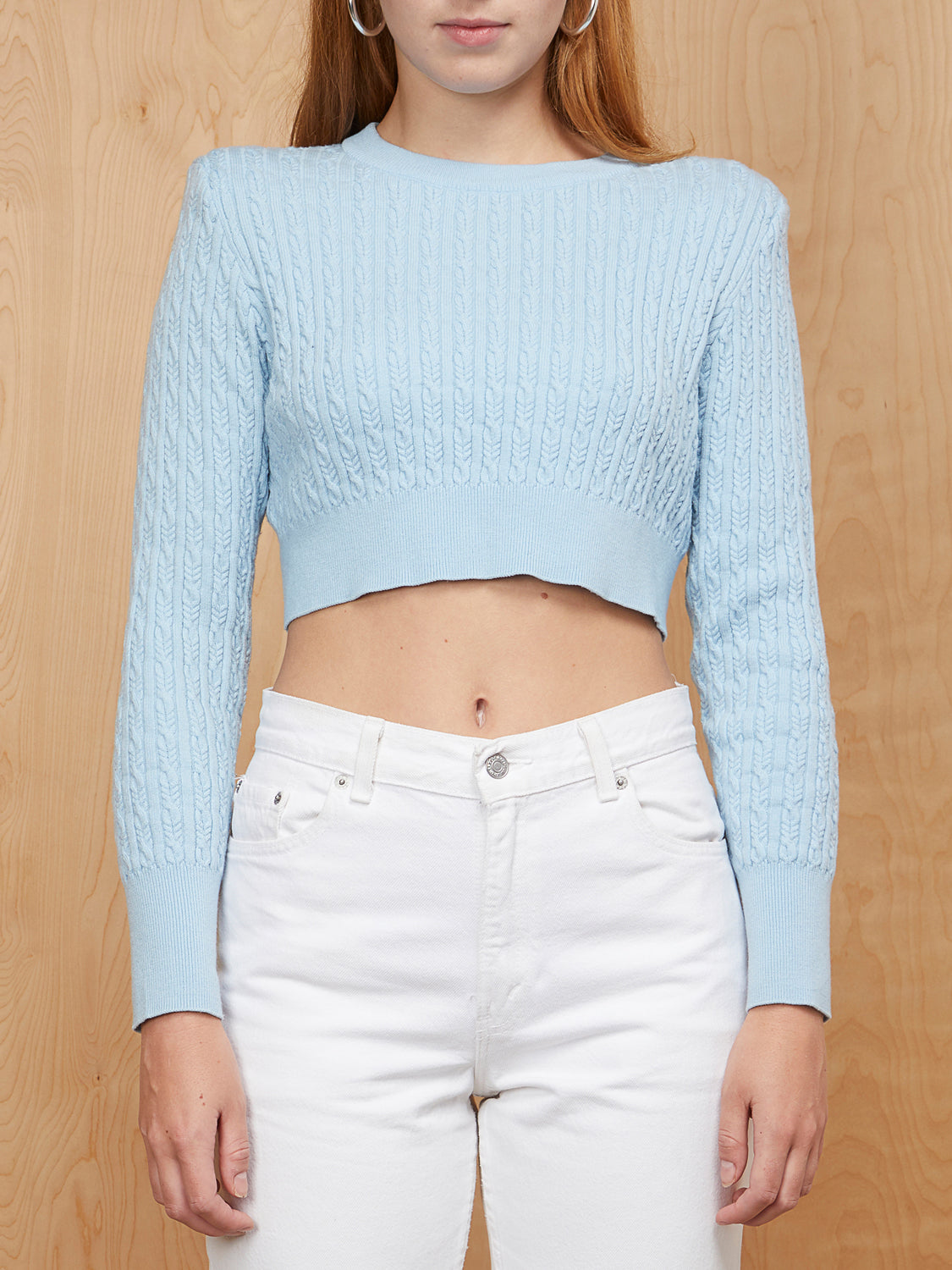 LPA Blue Cropped Sweater with Shoulder Pads