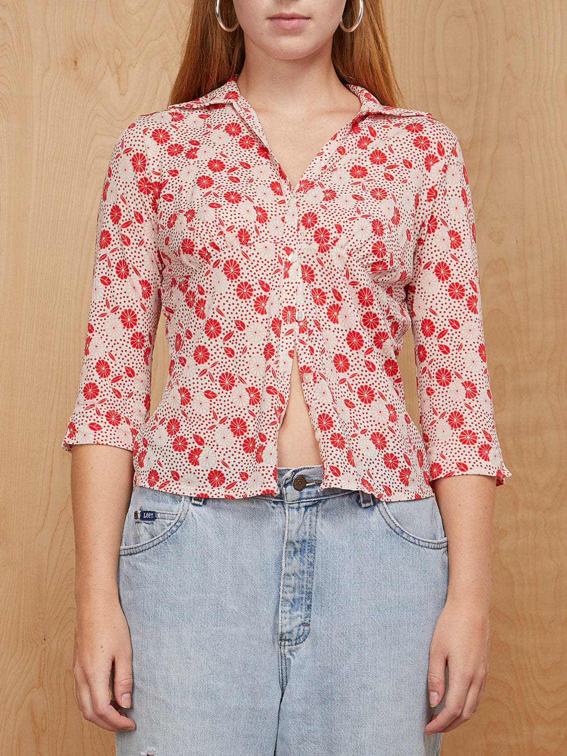 Vintage Red Print Button Up Top