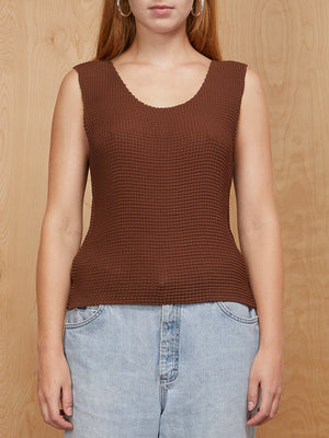 Vintage Brown Bubble Textured Tank