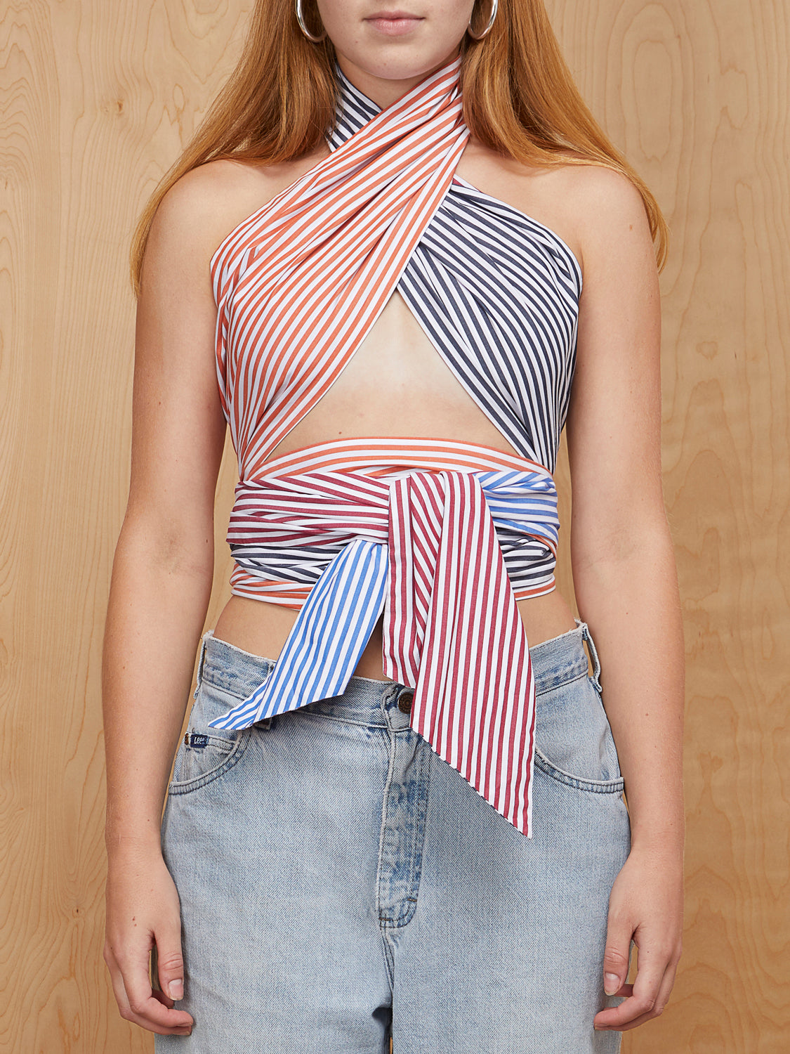 MDS Stripes Scarf Tie Top
