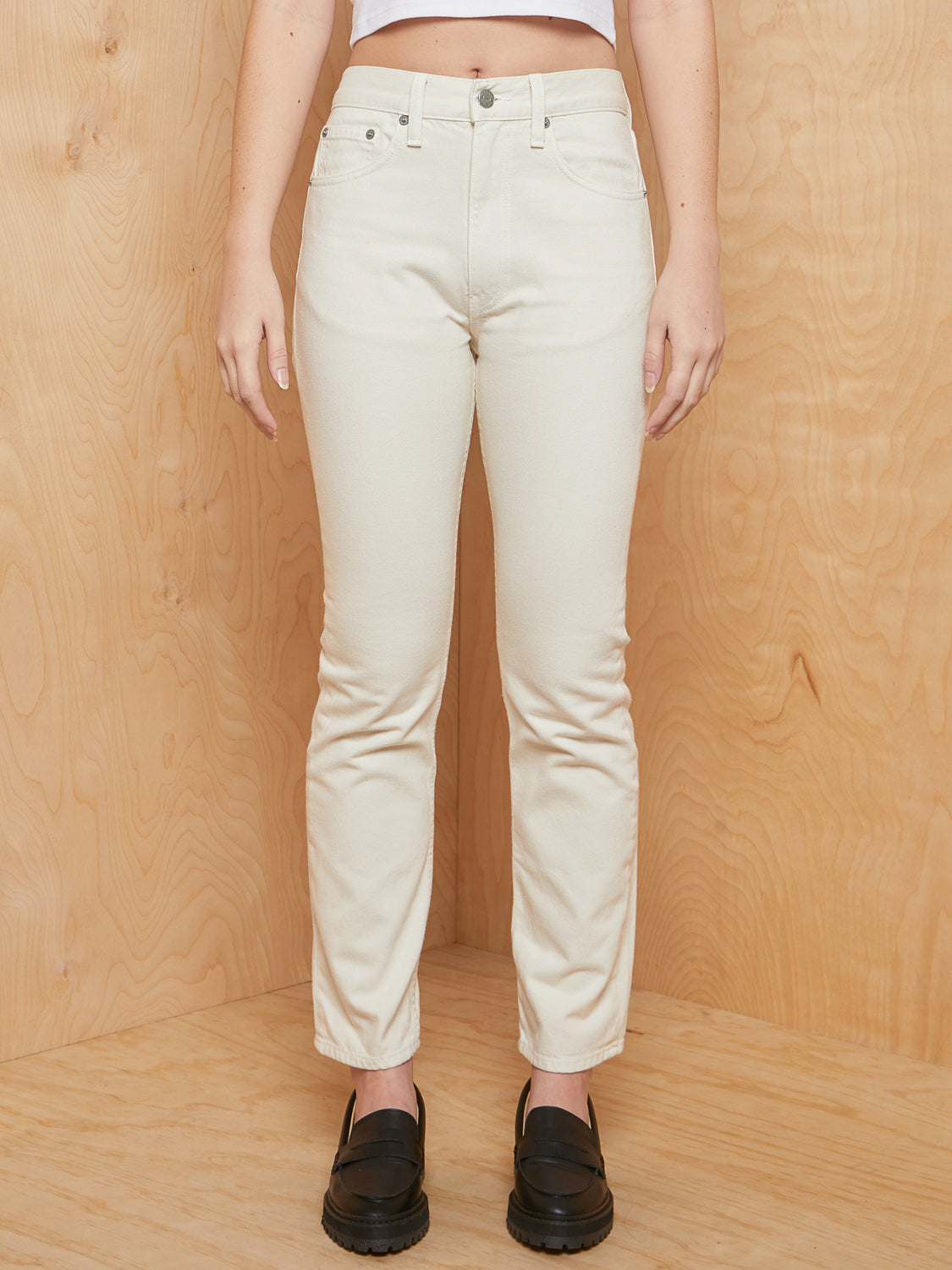 Brock Cream Straight Leg Denim