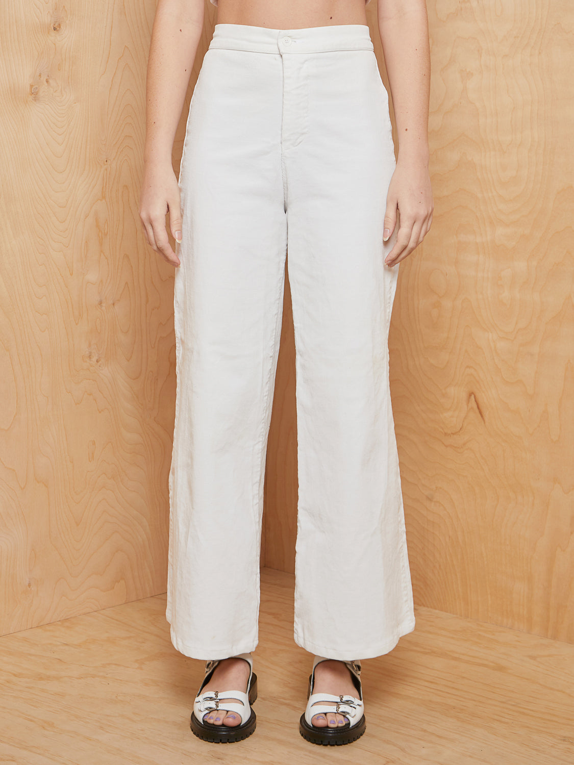 We are Stardust Cream Wide Leg Corduroy Pants