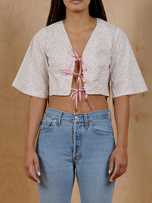 Floral Crop Top with Satin Ties