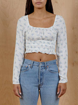 Cropped White and Blue Top