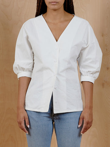 Petite Studios White Puffy Sleeve Button Down