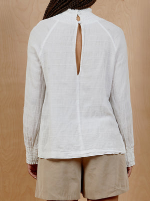 H&M White Smocked Mockneck