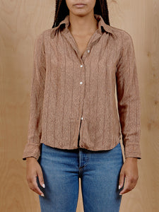 Michel Bertiaux Vintage Wood Grain Blouse