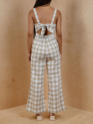 Isalis Checkered Tie-back Romper