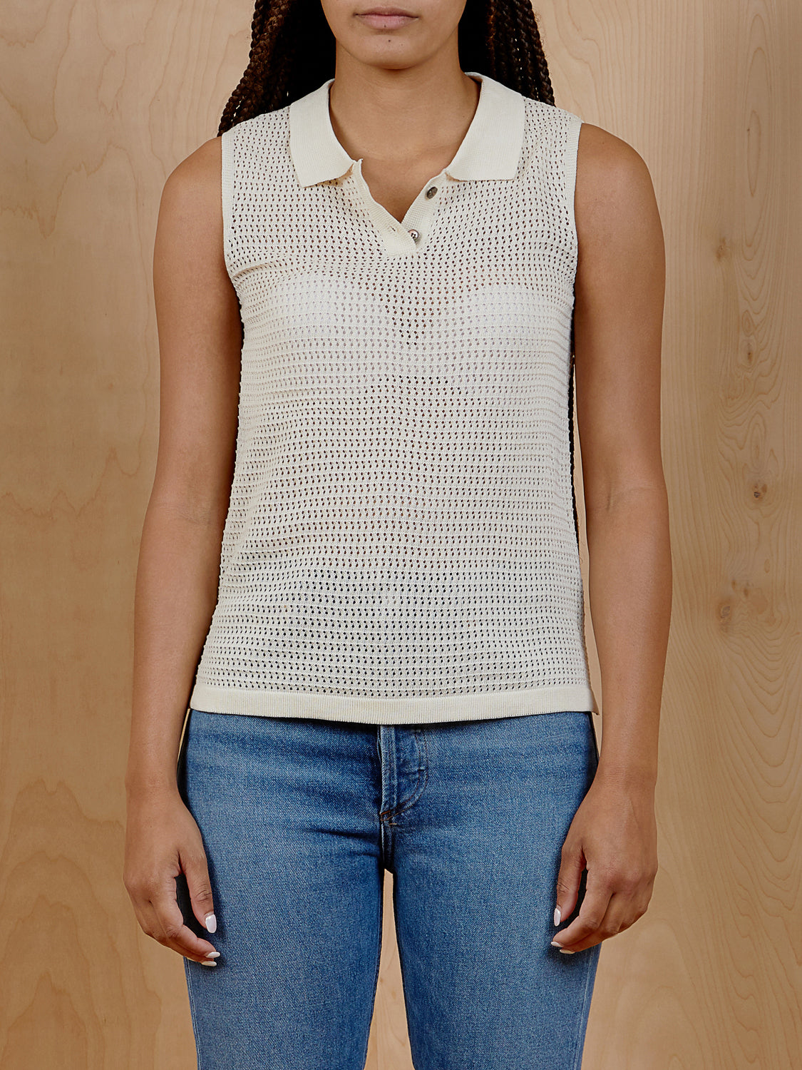 Oak + Fort Knit Tank Top with Collar