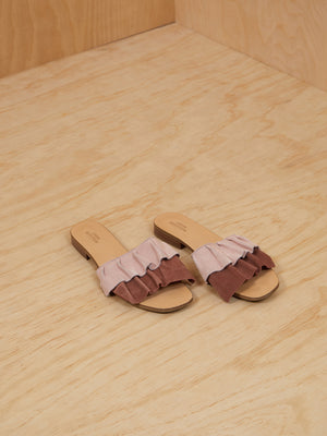 Urban Outfitters Suede Ruffle Slides