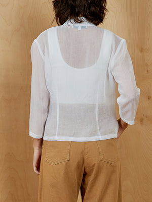 Sue Wong White Sheer Blouse