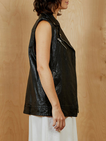 Mackage Black Leather Sleeveless Jacket