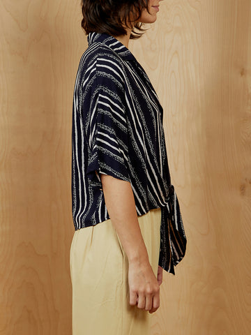 All in Favor Striped Wrap Top
