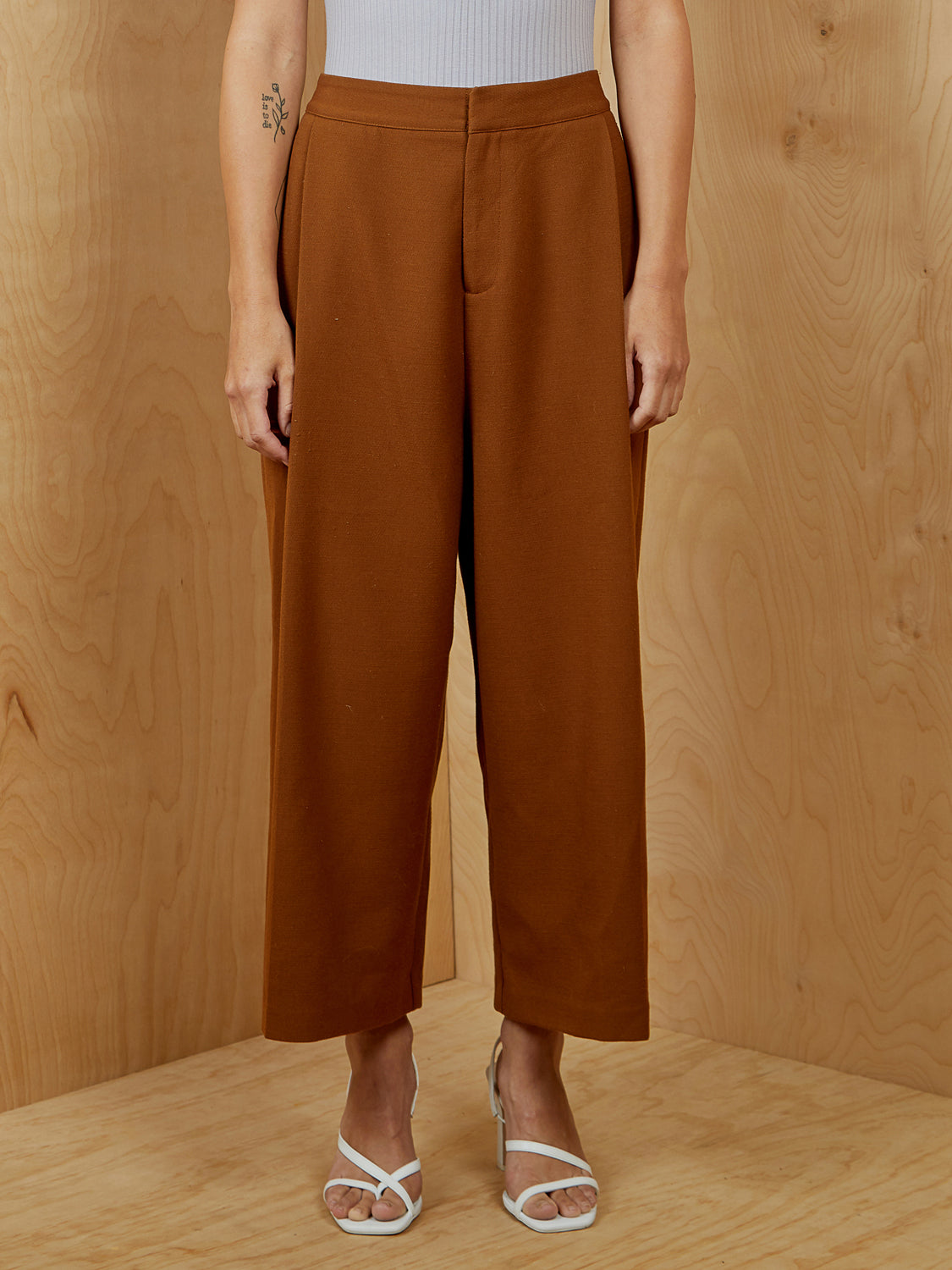 Oak + Fort Wool Brown Wide Legged Crop Pants