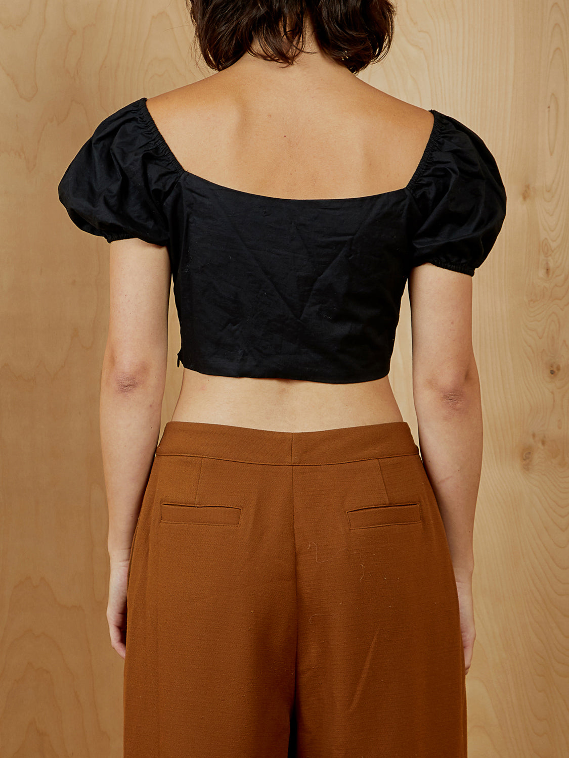 Black Lace-up Crop Top
