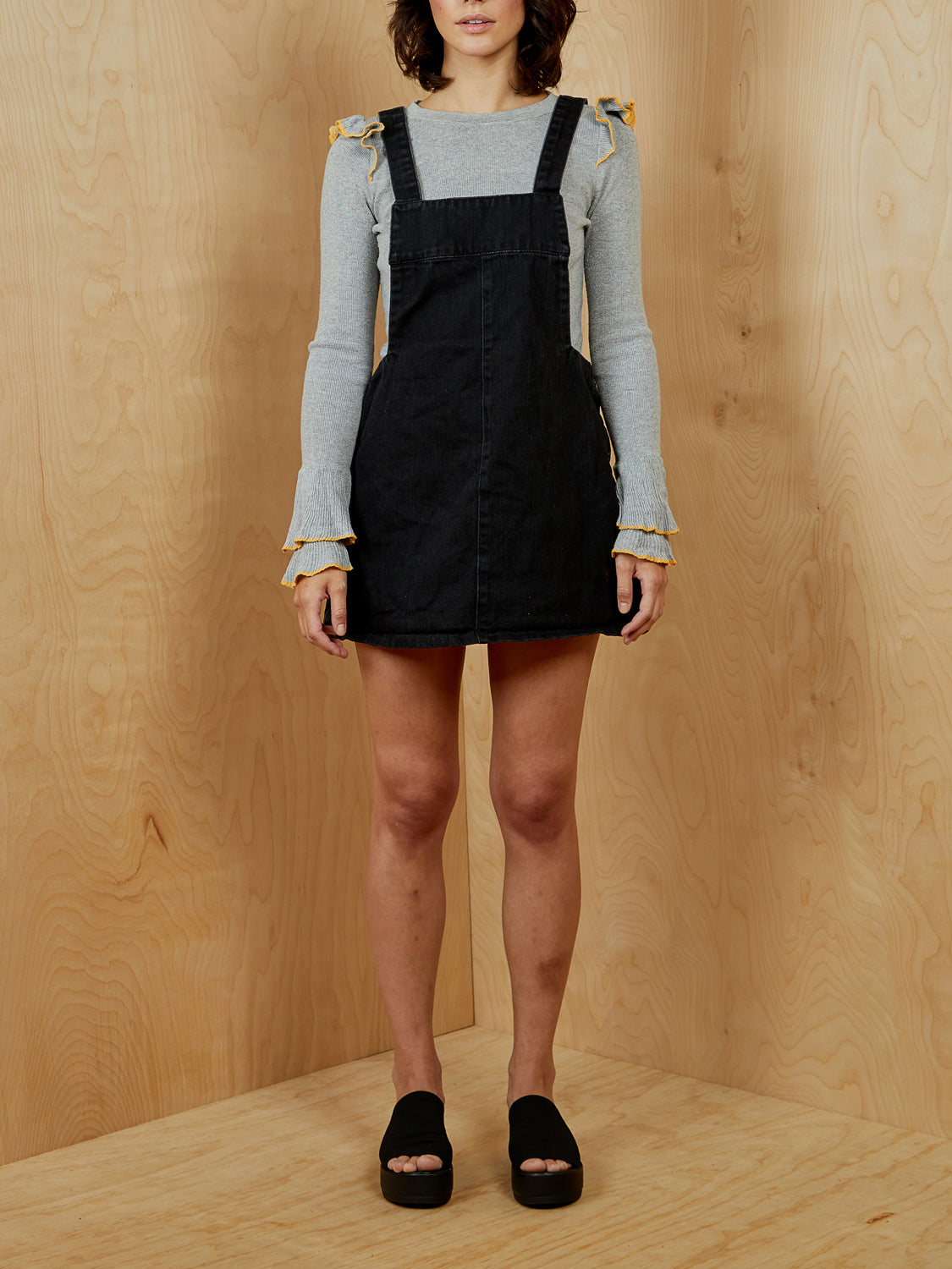Black Denim Overall Mini Dress