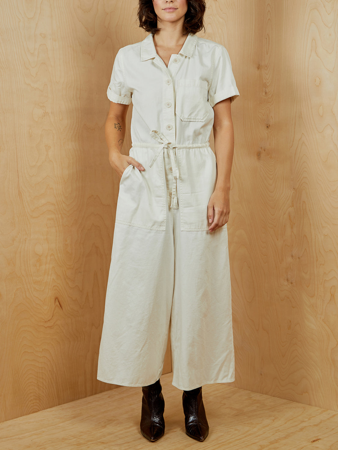 Madewell Cream Wide Leg Jumpsuit
