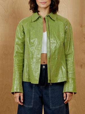 Vintage Green Faux Croc Leather Jacket