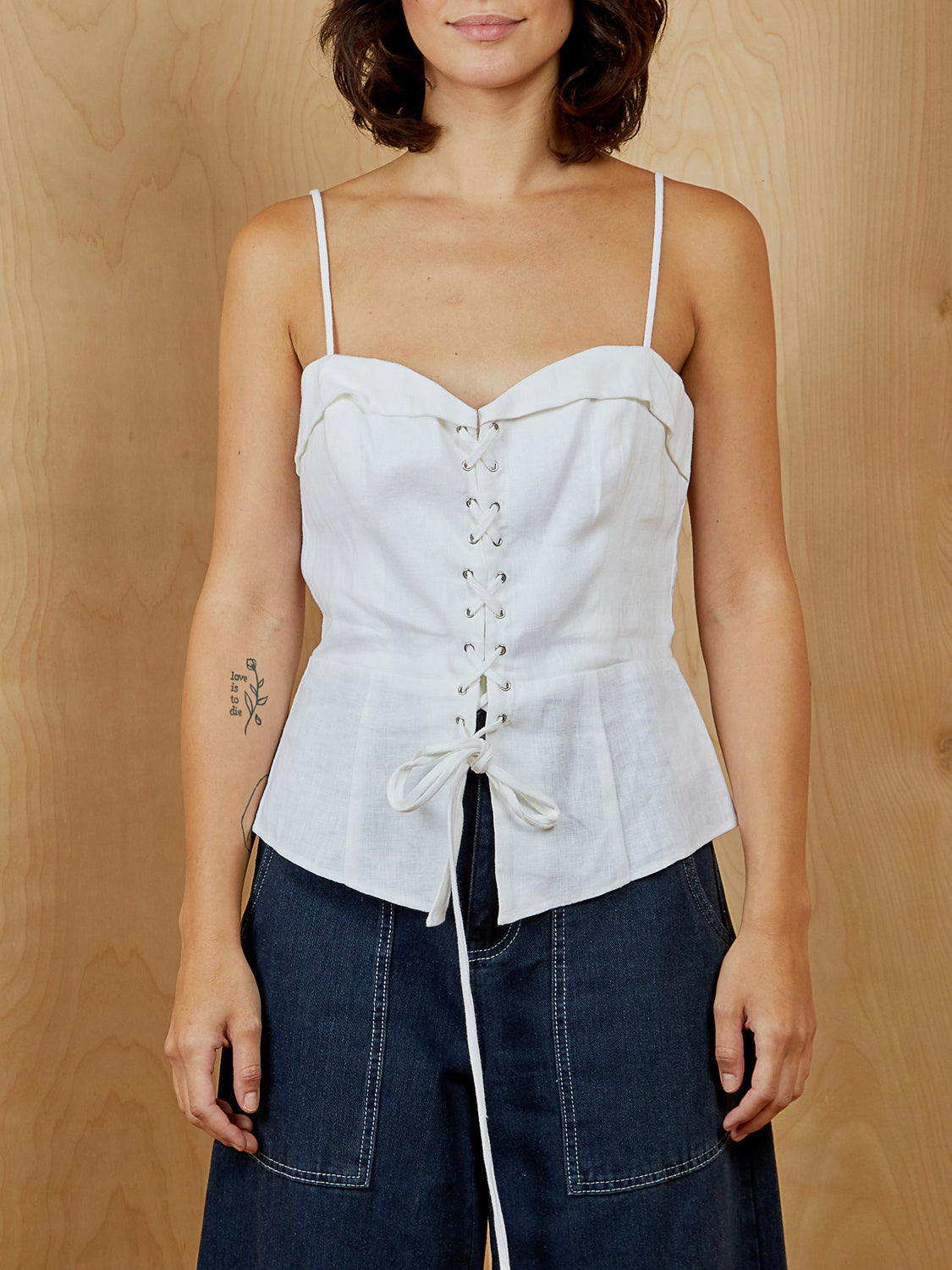 White Reformation Corset Top