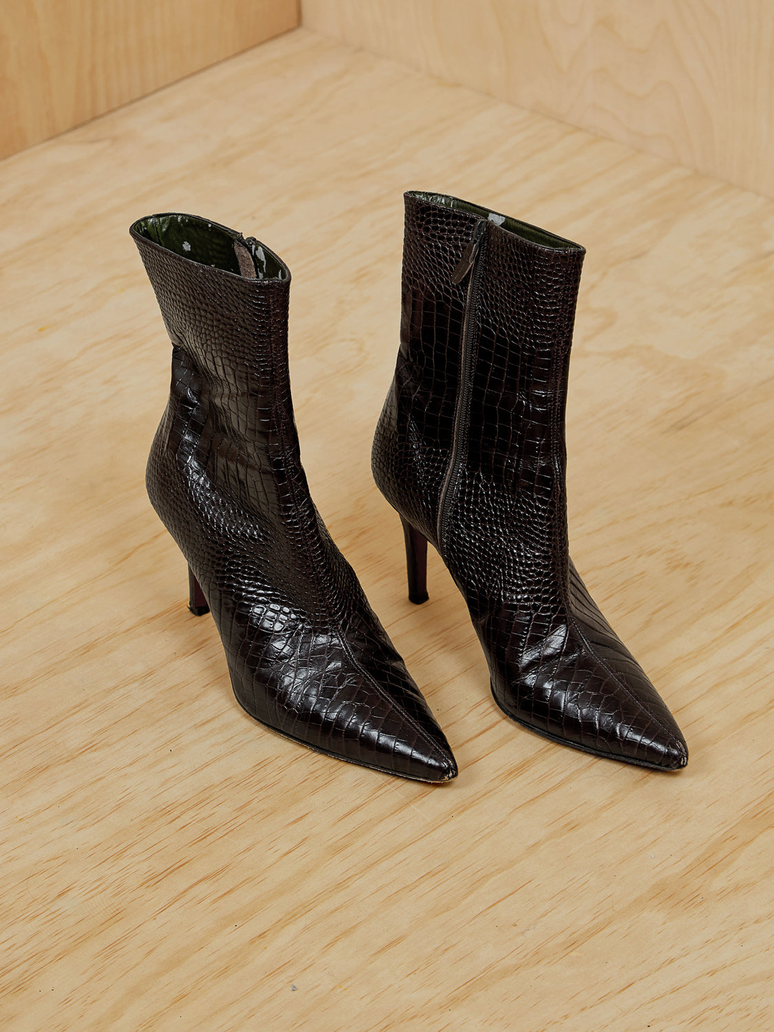 Brown Snakeskin Mid-Calf Boots