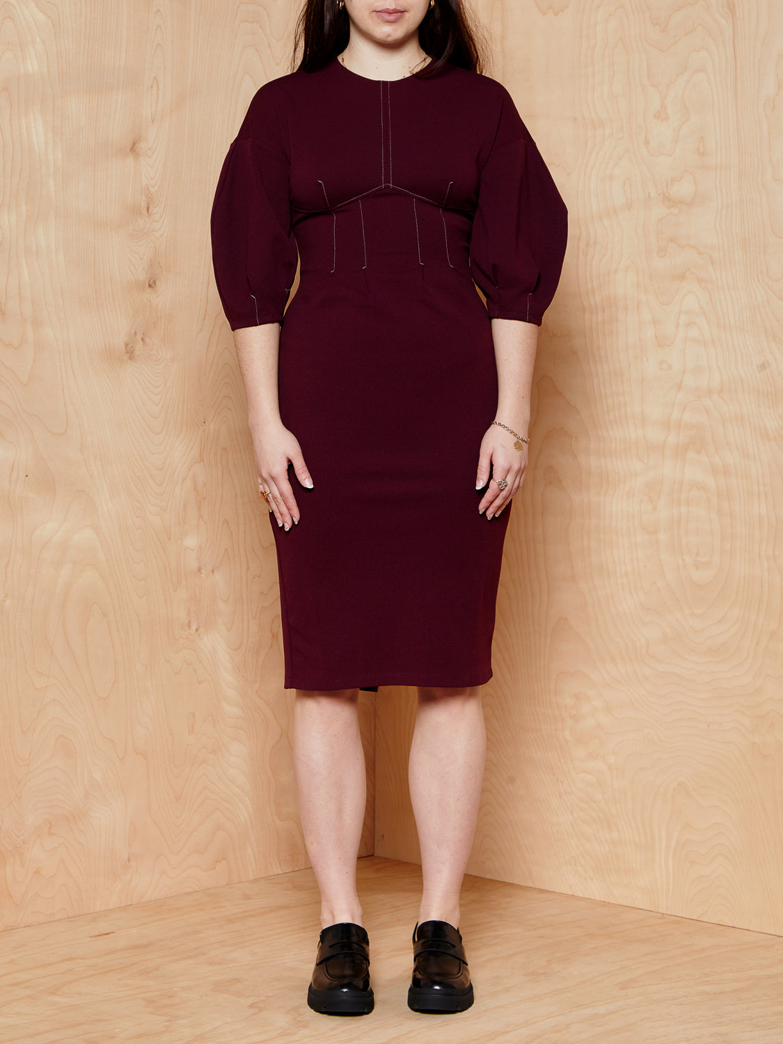 TopShop Maroon Topshop Dress with Contrast Stitching
