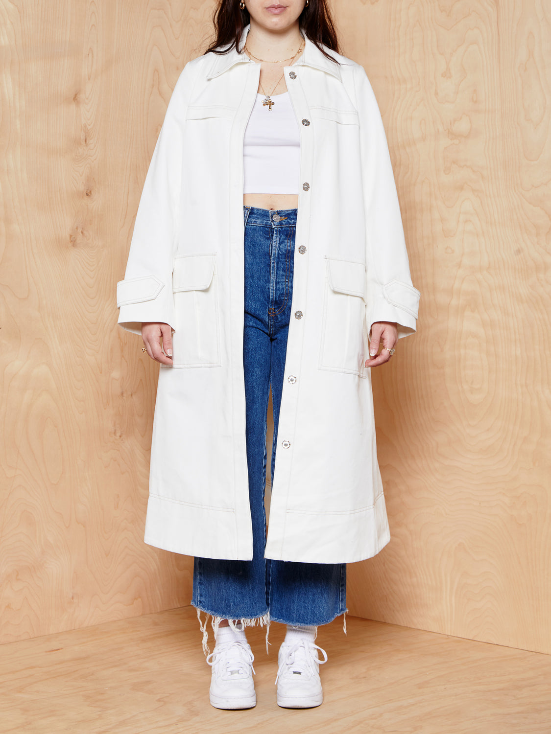 ASOS White Coat with Contrast Stitching