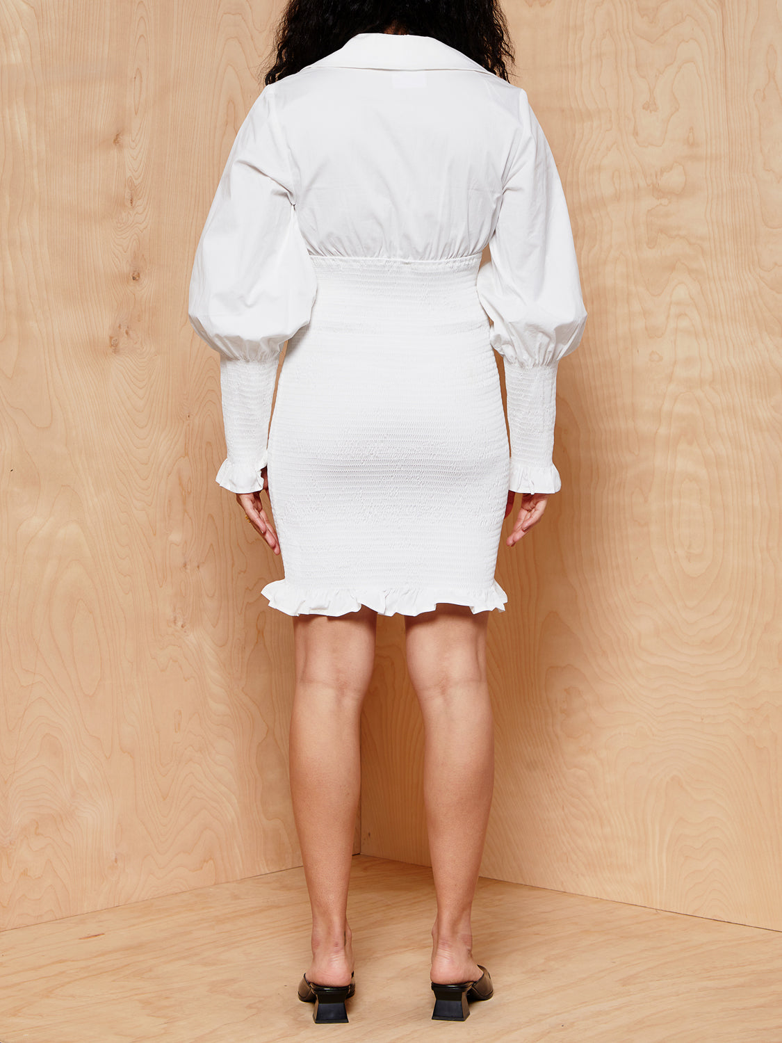 C/MEO Collective White Rouched Dress