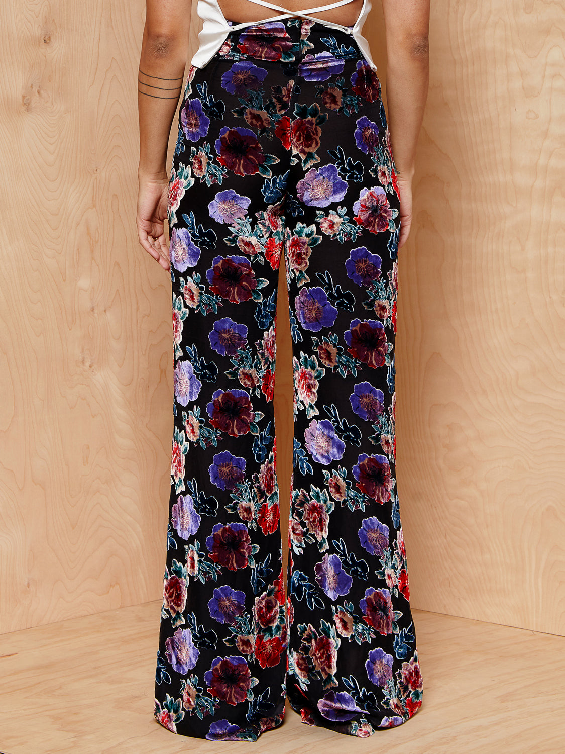 Silvia Tcherassi Wide Leg Pant with Velvet Applique Pattern