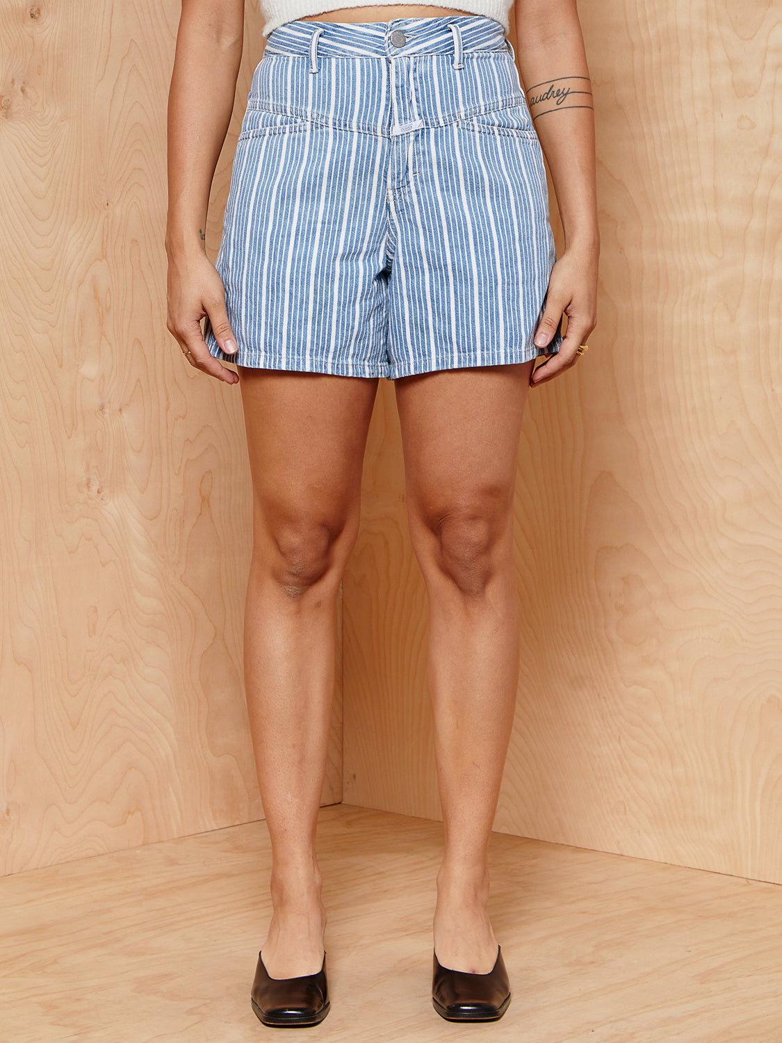 CLOSED High Waisted Striped Denim Shorts