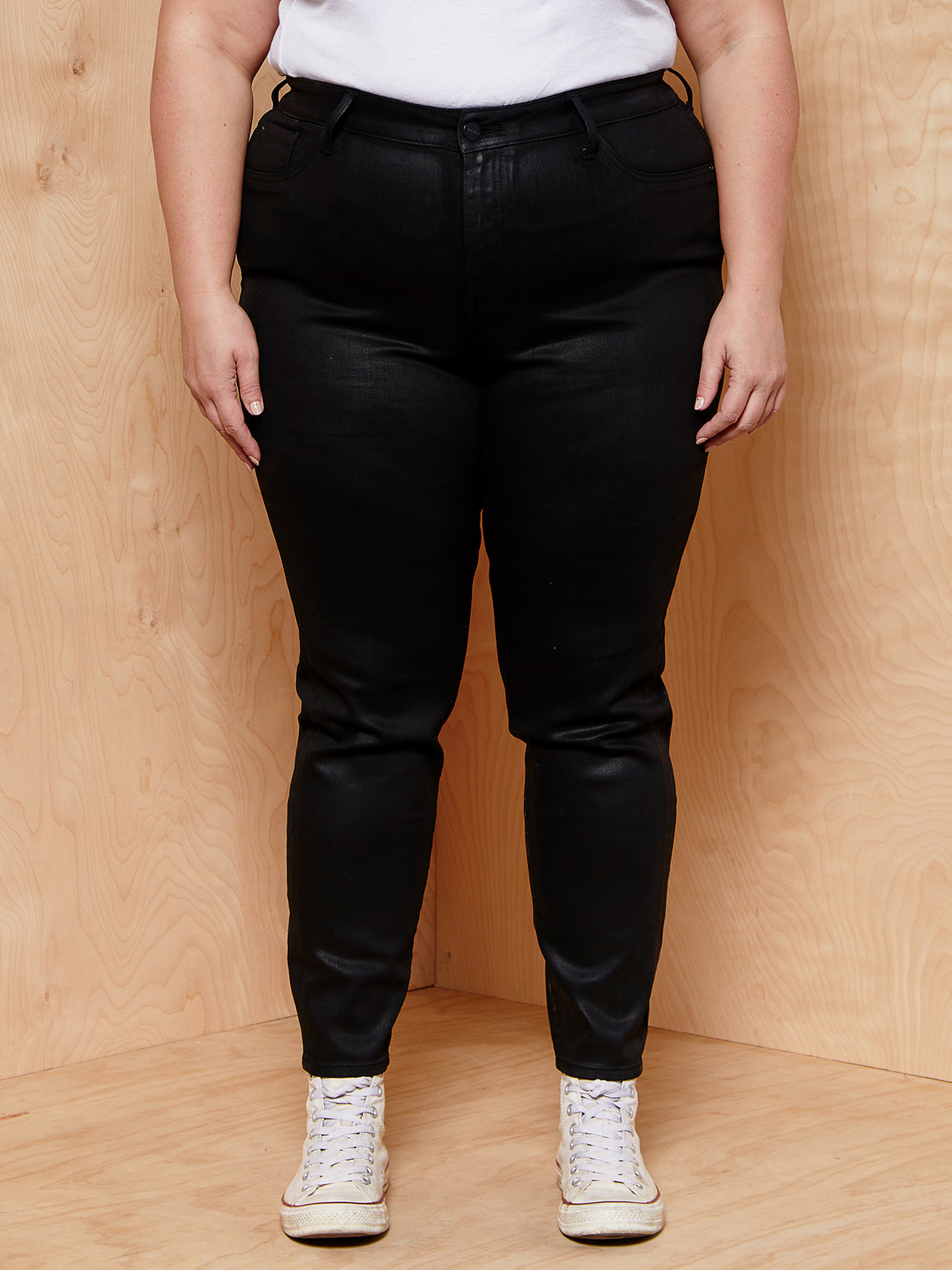 Warp + Weft High Rise Skinny Black Waxed Denim